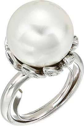 Kenneth Jay Lane Women's Rhodium with Rhinestone Center Ring