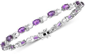 Macy's Amethyst (6 ct. t.w.) & Diamond Accent Link Bracelet in Sterling Silver (Also available in Garnet, Mystic Topaz & Peridot)