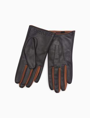 Calvin Klein leather contrast color gloves