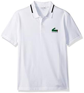 Lacoste Men's Short Sleeve Graphic Pique Polo with Printed Croc Logo