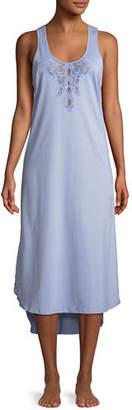 Natori Bliss Lace-Inset Sleeveless Cotton Nightgown
