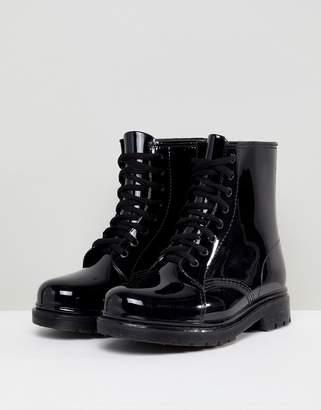 Glamorous Lace Up Wellington Boots