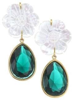 Lizzie Fortunato Lily Pad 18K Goldplated, Mother-of-Pearl& Glass Drop Earrings