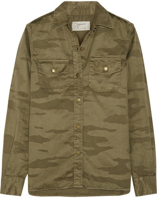 Current/Elliott - The Perfect Camouflage-print Cotton-twill Shirt - Army green $250 thestylecure.com