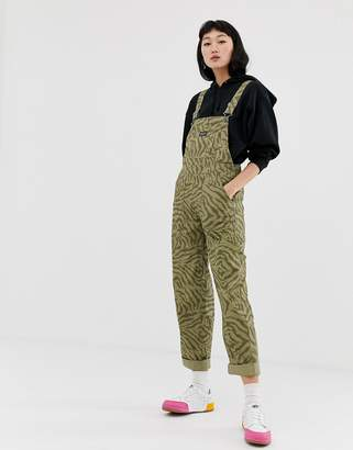 Obey relaxed dungarees in animal print
