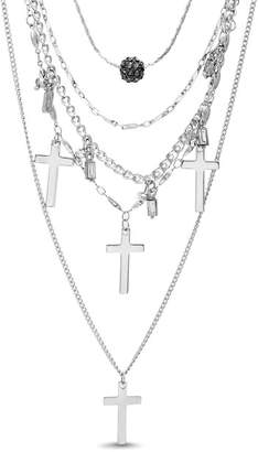 Steve Madden Rhinestone Multi-Strand Cross Pendant Necklace