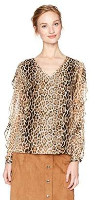 Calvin Klein Women's Long Sleeve Printed Blouse with Ruffle