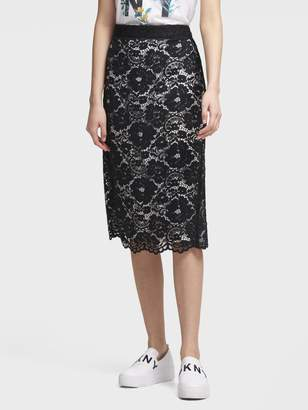 DKNY Floral-Lace Pencil Skirt