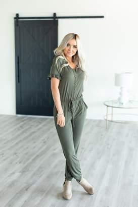 Alison Ruffle Sleeve Jumpsuit - Olive
