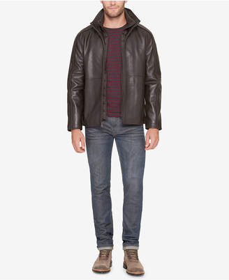 Andrew Marc Men Leather Jacket with Bib