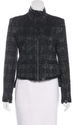 Theyskens' Theory Leather-Trimmed Virgin Wool-Blend Jacket
