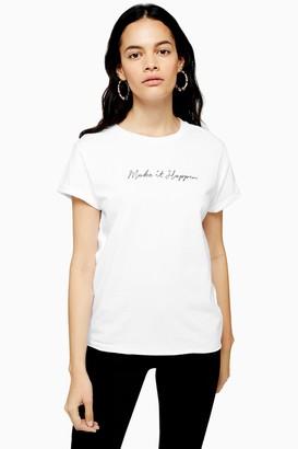 Topshop Womens Petite Make It Happen T-Shirt - White