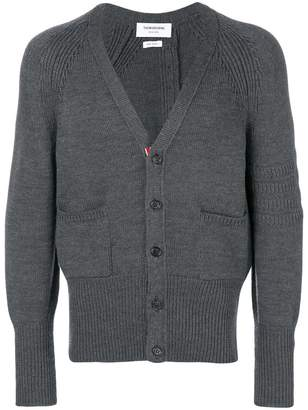 Thom Browne Tonal 4-Bar Stripe Button-Back Merino Wool V-Neck Cardigan