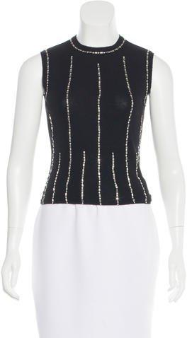Chanel Crystal-Embellished Cashmere Top