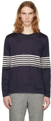 Paul Smith Navy Long Sleeve Chest Stripe T-Shirt