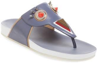 Fendi Faces Leather Thong Sandal