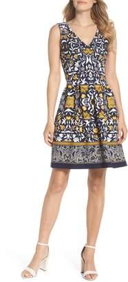 Vince Camuto Print Scuba Crepe Fit & Flare Dress