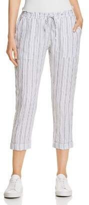 Three Dots Striped Linen Crop Pants