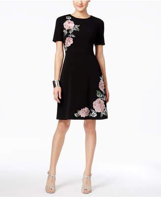 JAX Elbow-Sleeve Floral-Appliqué Dress $158 thestylecure.com