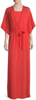Halston V-Neck Wrap Kimono Gown