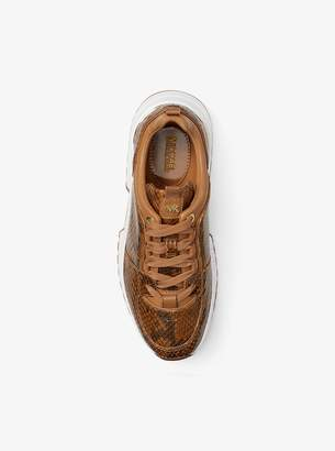 MICHAEL Michael Kors Cosmo Snake-Embossed Leather Trainer