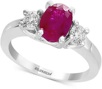 Effy Gemstone Bridal by Ruby (1-3/8 ct. t.w.) & Diamond (3/8 ct. t.w.) Engagement Ring in 18k White Gold