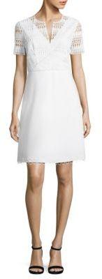 Elie Tahari Kinley Crochet & Poplin Dress $328 thestylecure.com