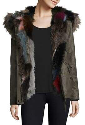 SAM. Multi Mini Luxe Limelight Fox-Fur Trimmed Parka