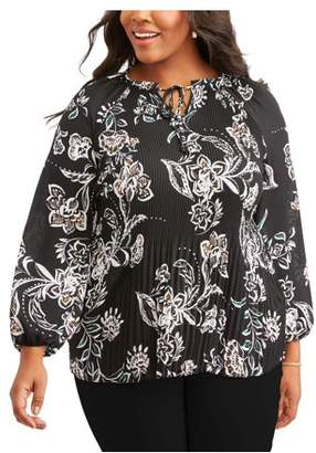 Lifestyle Attitude Women's Plus Printed Floral Blouse