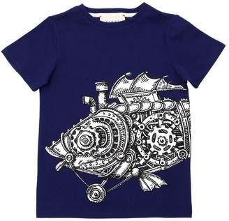 Gucci Fish Printed Cotton Jersey T-Shirt