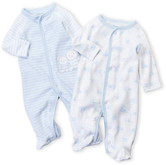 Little Me Newborn/Infant Boys) Two-Pack Stripe & Bear Footie Set