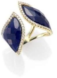 Meira T Sapphire, Diamond& 14K Yellow Marquis Wrap Ring