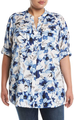 Iconic American Designer Floral Roll-Sleeve Button-Front Blouse, Plus Size