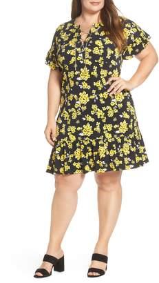 MICHAEL Michael Kors Glam Painterly Lace-Up Chain Dress