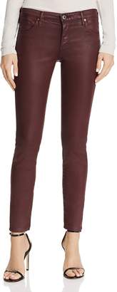 AG Jeans Coated Legging Ankle Jeans in Leatherette Light Deep Currant