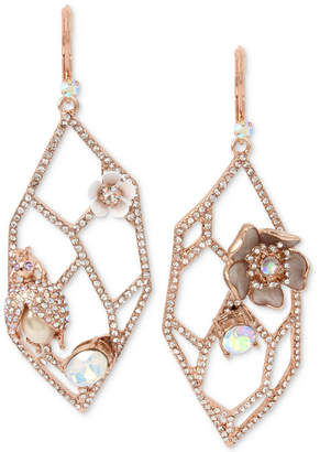 Betsey Johnson Rose Gold-Tone Crystal & Imitation Pearl Openwork Drop Earrings