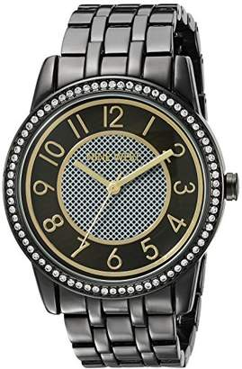 Nine West Women's NW/1745BKGN Easy to Read Swarovski Crystal Accented Bracelet Watch