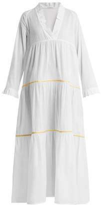 Santorini Daft V Neck Embroidered Cotton Dress - Womens - White