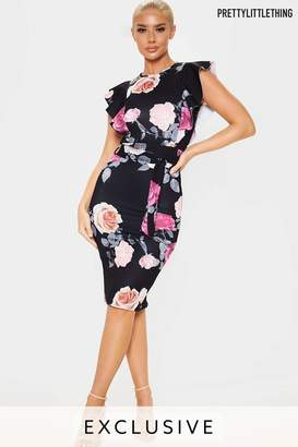 PrettyLittleThing Womens Pretty Little ThingFrill Detail Midi Dress - Pink