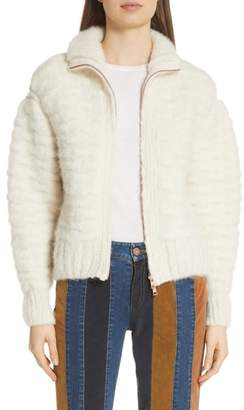 See by Chloe Contrast Panel Wool Blend Jacket