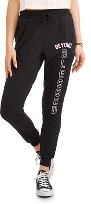 Lemondrop Juniors' Sassy Graphic Beyond Blessed Fleece Jogger Sweatpants