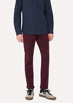 Paul Smith Men's Tapered-Fit Damson Garment-Dyed Stretch-Cotton Chinos