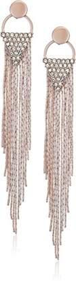 GUESS Womens Chain Fringe Linear Earrings Matte /Crystal
