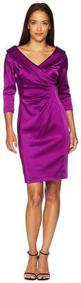 Tahari ASL Petite Sleeved Portrait Collar Satin Dress Women's Dress