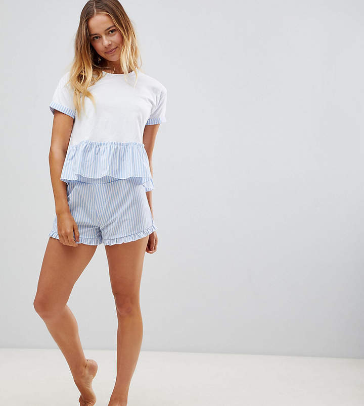 Hey Peachy Blue Stripe Short Pajama Set