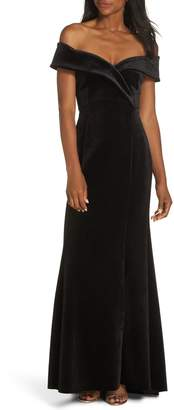 Eliza J Off the Shoulder Trumpet Gown