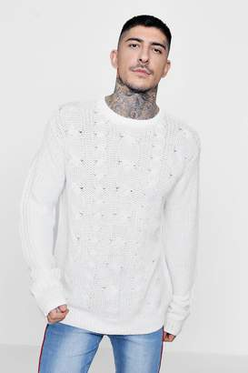 boohoo Crew Neck Jumper With Cable Knit Front