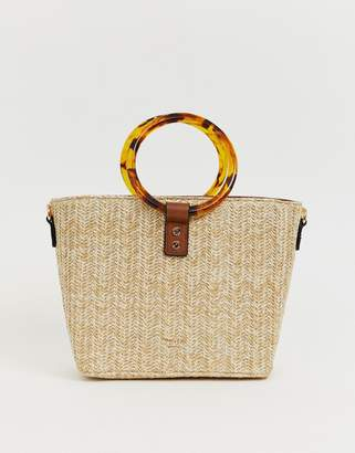 Dune acrylic ring handle straw bag