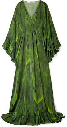 Naeem Khan Draped Printed Silk-charmeuse Gown - Green