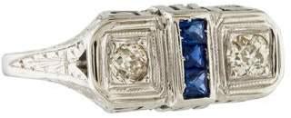 Ring 18K Diamond & Sapphire Art Deco